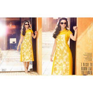 Georgette Yellow Readymade L/40 Kurta Kurti Online