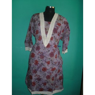 Semi Stitched Cotton Printed Beautiful Lace Work Ladies Kurti