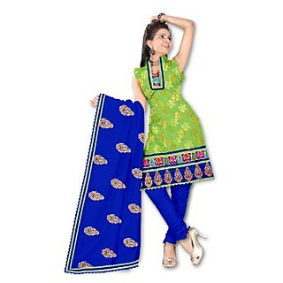Energy Green Jacquard Embroidered Casual Dress Material)