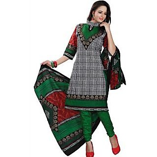 Madhav Enterprise Black & Green Cotton Printed Dress Material Md10007
