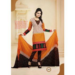 Printed Cotton Ladies Suit Material Multicolor