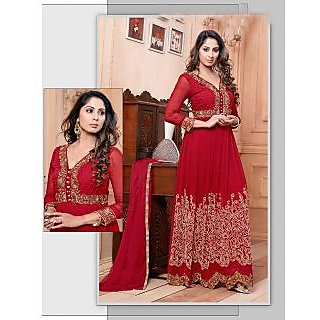 Thankar New Attractive Embroidery Floor Length Red Anarkali Suit With Long Sleev