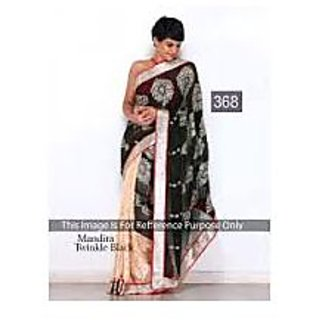 Richlay Fashion Mandira Bedi Chiffon Machine Work Black & Cream Saree