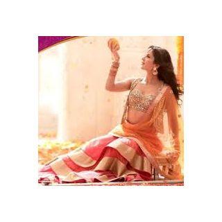 Richlady Fashion Katrina Kaif Net Machine Work Pink Semi Stitched Lehnga Choli