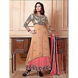 Thankar New Attractive Embroidery Floor Length Pink And Cream Anarkali Suit With