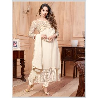 Thankar New Attractive Embroidery Floor Length Off White Anarkali Suit With Long