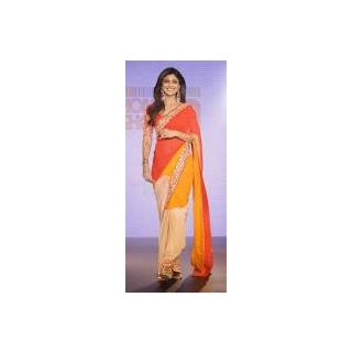 Richlady Fashion Shilpa Shetty Georgette Border Work Orange Saree
