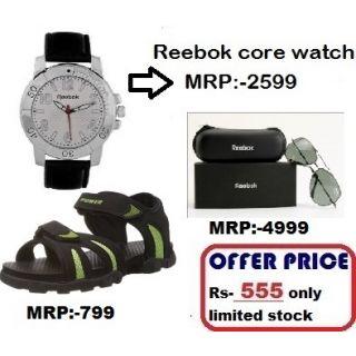 Combo Reebok Core Watch + Reebok Sunglass + Power Bata Sandal