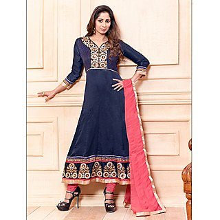 Thankar New Attractive Embroidery Floor Length Navy Blue Anarkali Suit With Long