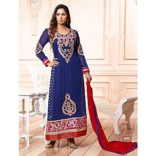 Thankar Latest Designer Embroidary Blue Straight Suit With Long Sleeve