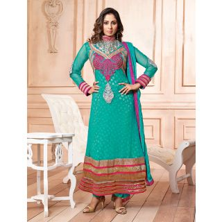 Thankar Latest Designer Heavy Aqua Embroidery Straight Suit