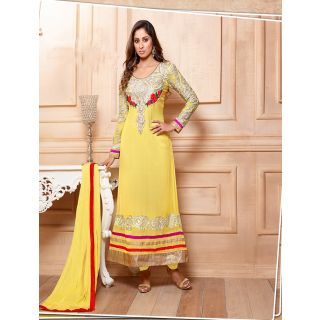 Thankar Latest Designer Heavy Yellow Embroidery Straight Suit
