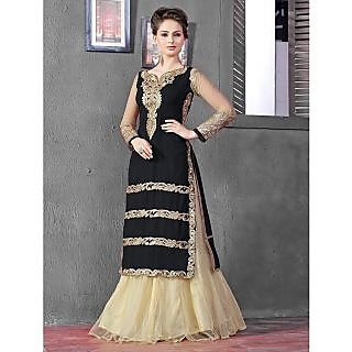 Thankar Latest Designer Heavy Black And Cream Embroidery Indo Western Style Stra