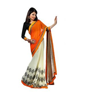 FabPandora Women's Orange,Ivory Georgette Saree With Blouse Piece