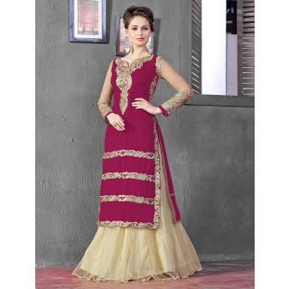 Thankar Latest Designer Heavy Rani And Cream Embroidery Indo Western Style Strai