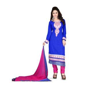 Krizel Senorita Georgette Blue Unstitched Salwar Suit Dress Material