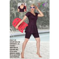 UNIQUE- LADIES SWIMMING COSTUME TRADITION PLAIN- SHORTS- FROCK STYLE -S TO XXXL