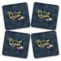 Quiet Printed Wooden Kitchen Coaster Set Of 4