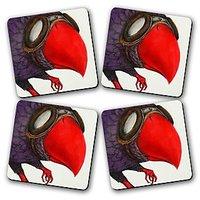 Red Beak Printed Wooden Kitchen Coaster Set Of 4