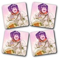 Space Chimp Printed Wooden Kitchen Coaster Set Of 4