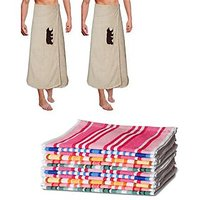 JBG Home Store Attractive  Combo Of 2 Bath Towel And 6 Hand Towel