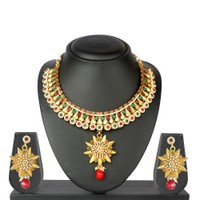 VK Jewels Divine Star Gold Plated Necklace With Earrings- NKS 1057G