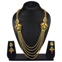 VK Jewels Multi Strings Gold Plated Necklace With Earrings- NKS1130G