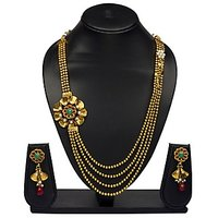 VK Jewels Flower Design Gold Plated Necklace With Earrings- NKS1131G