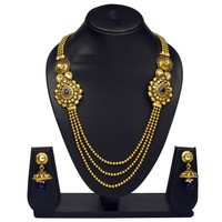 VK Jewels Blue Beads Traditional Gold Plated Necklace With Earrings- NKS1132G