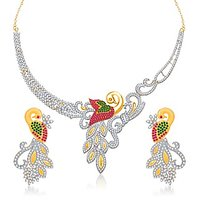 VK Jewels Mayur Ruby Beaded Gold Plated Necklace With Earrings- NKS1133G
