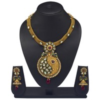 VK Jewels Kundan Beaded Mayur Batch Gold Plated Necklace With Earrings- NKS1147G