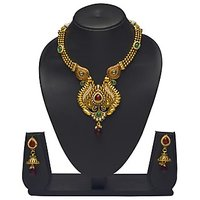 VK Jewels Gorgeous Mayur Design Gold Plated Necklace With Earrings- NKS1148G