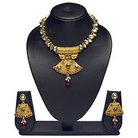 VK Jewels Stunning Kundan Beaded Gold Plated Necklace With Earrings- NKS1152G