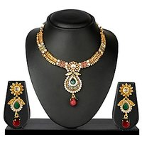 VK Jewels Beautiful Traditional Gold Plated Necklace With Earrings- NKS1157G