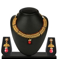 VK Jewels Gold Plated Necklace With Earrings- NKS1158G