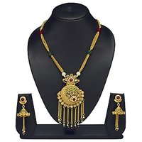 VK Jewels Chain Drops Gold Plated Necklace With Earrings- NKS1170G