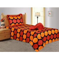 Salona Bichona 100% Cotton Satin Geometric Red Single Comforter With Single Beds