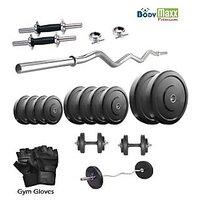 Body Maxx Premium 22 Kg Home Gym + 2 Pcs Dumbbells Rod's + 3 Feet Curl Bar + Glove