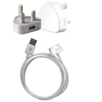 BrandPark Charger & Usb Data Cable For Iphone 3G/4G/4S Uk 3 Pin (Combo )
