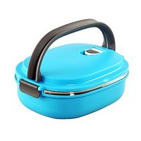Single Layers Stainless Steel Lunch Box With Handle - Blue
