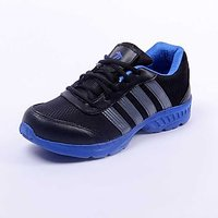 Foot 'n' Style Comfortable Black & Blue Sports Shoes (fs428)