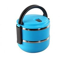 Double Layer Round 2 Containers Lunch Box - Blue