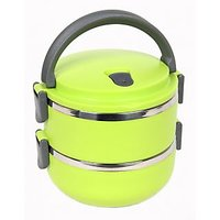 Double Layer Round 2 Containers Lunch Box - Green