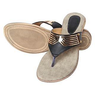 Niremo Women's Viz Dune Glamor Black Leather Sandals