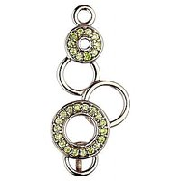 Exxotic Trendy 925 Sterling Silver Light Green Color American Diamond Circle Pendants