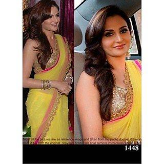 VandV Guman Yellow Georgette Bollywood Replica Saree