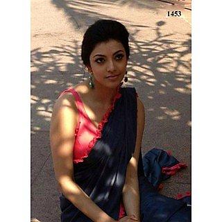 VandV Kajal Agarwal In Black Saree With Pink Lace
