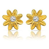 Mahi Gold Plated Floret Earrings With CZ