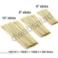 "Combo Of 100 Pcs 10"" + 100 Pcs 8"" + 100 Pcs 6"" Bamboo Kebab Sticks"
