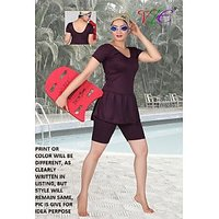 LADIES SWIMMING COSTUME TRADITION PLAIN- SHORTS- FROCK STYLE -S TO XXXL